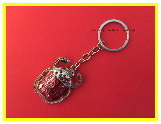 Key chain red scarab